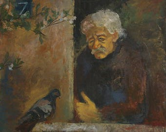 European art impressionist oil painting man and bird portrait signed