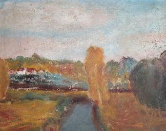 1950's European impressionsit art oil painting landscape