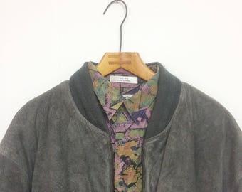 Vintage Grey Jacket, Suede Jacket, Leather Jacket, Suede Bomber, Bomber Jacket, Retro Mens Jacket, L