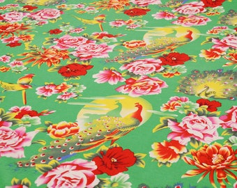 fabric cotton clothing Chinese vintage green Peacock Peony 10 m