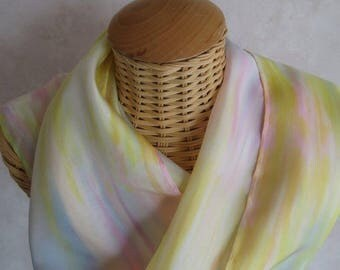 Silk scarf, handpainted, Rainbow pastel@evysoie