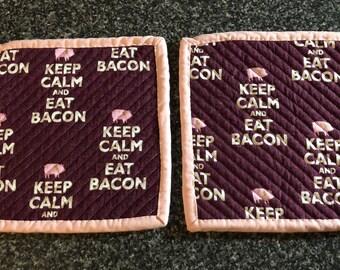 Keep Calm & Eat Bacon Potholder Set