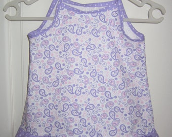 baby dress in purple cotton fabric