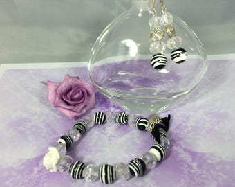 set romantic Crystal Zebra and transparent beads pink craft white