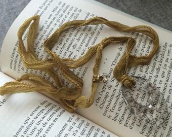 bronze necklace short romantic Swarovski pendant and silk