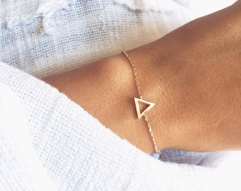 Bracelet fine chain triangle plate gold 750/000 - gold plated bangle