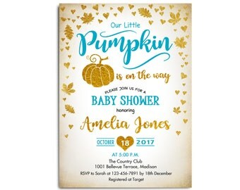 Pumpkin Baby Shower Invitation. Little Pumpkin Fall Baby Shower. Glitter Gold Blue. Gold Leaves. For Boy. Digital Printable Invites. Custom