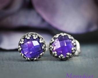 Rose Cut Amethyst Stud Earrings in Sterling Silver - Amethyst Bezel Set Gemstone Earrings - Rose Cut Amethyst Filigree Post Earrings