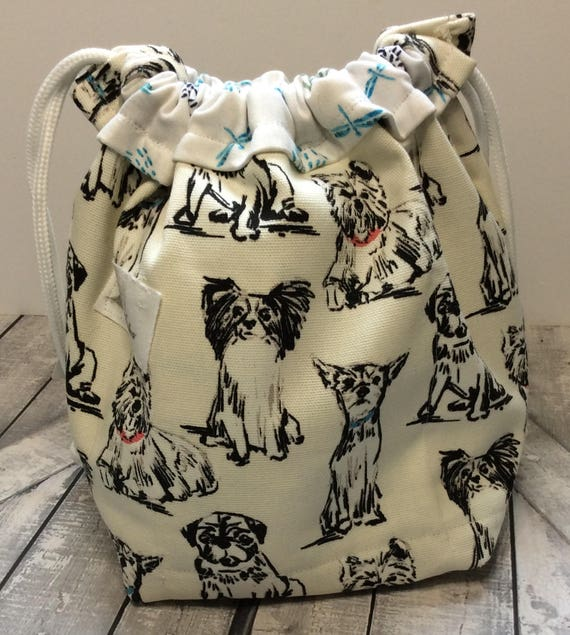 Knitting Project Bag-Multiple Dog Breeds,Canine tote bag,Toad Hollow Bag,Crochet Project,Sock,yarn keeper,drawstring bag, dog mini tote bag