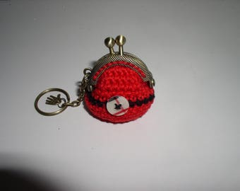 Red crochet with decorative button keychain
