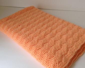 Hand knit orange baby blanket/machine washable hand knitted orange baby blanket/car seat baby blanket/stroller baby blanket/crib blanket