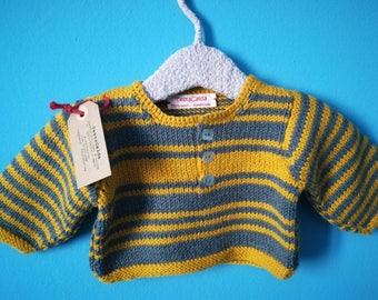 Newborn jersey 1-3 months in pure grey and yellow merino wool