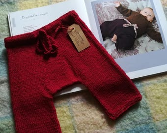 Baby pants 6 months in pure red merino wool