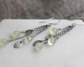 Dewdrop Earrings ( soft green prehnite teardrop gemstones. antique sterling silver dangles. oxidized chain fringe. leaf print jewelry )