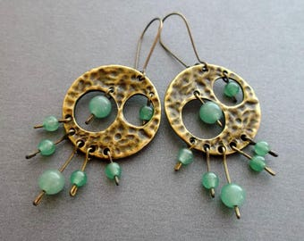 Earrings Boho Green aventurine. Inspired Nature Design Elegant Chandelier Earrings Dangle. Bohemian Jewelry. Gift for her. gift for women.