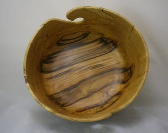 "Wooden Yarn Bowl- Hand Turned Spalted Beech. 8"" inch diameter #5.2"