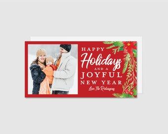 Printable Holiday Card - Watercolor Poinsettias
