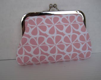 Coin Purse, Small Clutch, Child's Purse, Pink and White, Fabric, Handmade, Metal Frame, Ladies Gift, Women's Accessories