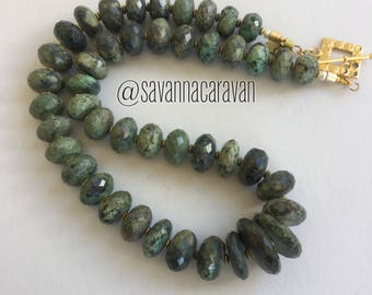 Fabulous African turquoise graduated faceted beads necklace with gold N130