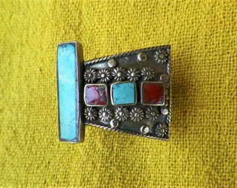 Tibetan turquoise coral ring, turquoise and coral cloisonne brass ring, 1980s Tibet