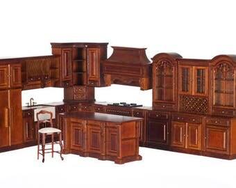 1:12 Scale Miniature Grand Manor Walnut Kitchen Collection