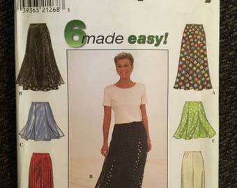 Uncut Vintage SIMPLICITY Skirt Flared Pants Shorts Pattern #8014 Year 1997 Size P 12-14-16