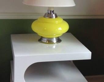 Heyco Mid Century Modern Lime Green Table Lamp, Green Chrome Atomic Decor