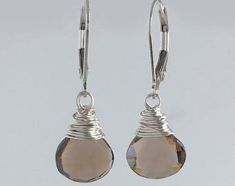 Boho Earring Ideas - Wife Earring Ideas -  Smoky Quartz Earrings  - Smokey Quartz Jewelry - Boho Earrings for Woman - Sterling Silver