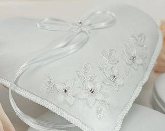 Heart Shaped Floral Wedding Ring Cushion