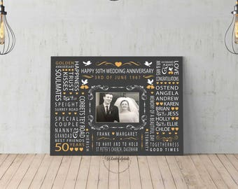 50th Wedding Anniversary Gift for Parents, Grandparents, Golden Anniversary Canvas Print