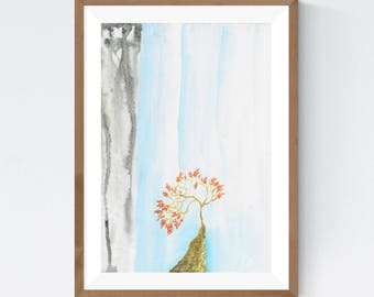 Waterfall by Essie Lee, print, original art, watercolor, abstract, nature, tree, autumn, river, rocks, wall decor, wall art