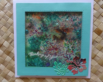 "Tropical ""Thinking of You"" shaker card with hibiscus"