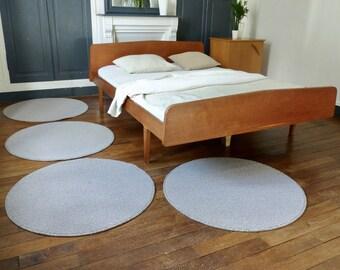 Round loops - wood carpet wool rug