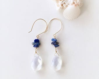Pear Shaped Opalite and Blue Gemstone Dangling Earrings, 14K Gold Filled, Made in Hawaii