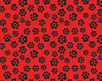 Must Love Dogs Red Paw Print from Studio E by the yard