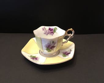 Teacup and Saucer ~  Made in Japan ~White and Yellow ~ Gold trim ~ Vintage