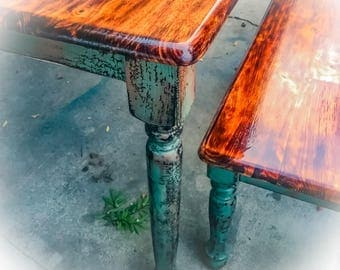 Burnt Wood, Farmhouse Table, large, distressed, green, dining room table, shabby chic table, bench seats, table & chair set, kitchen table