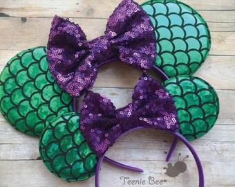 Disney Ears Set - Family Disney Ears - Ariel Ears - Ariel Mickey Ears - Disney Ears Headband - Little Mermaid Ears - Adult Mickey Ears