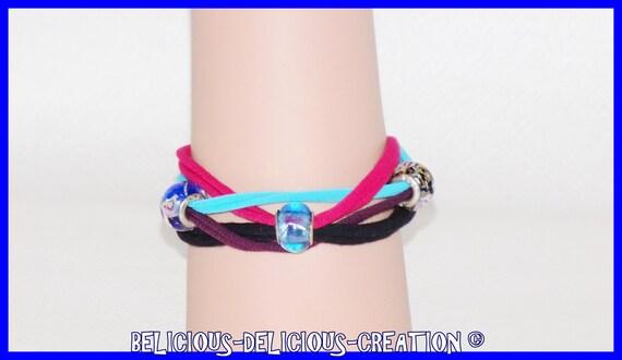 Original Bracelet !! INTERTWINE !! multicolore  en coton jersey,Taille long 20cm adjustable 25cm