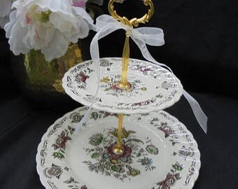 SALE Staffordshire MYOTTS BOUQUET 2 Tier Cake Stand Wedding Bridal Serving Tray