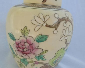 GINGER JAR, HANDPAINTED Canister, Asian Style, Floral Ginger Jar, Chinoiserie Decor