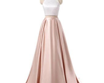 Two Pieces,Halter neck line,A line Floor length Skirt Sweep train, Prom, Special Occasion, Dress