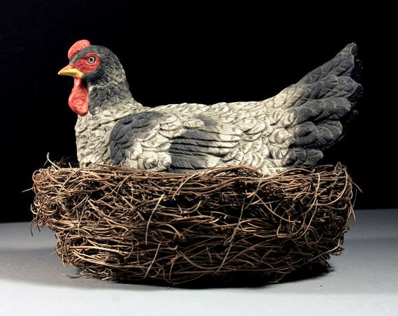 Rooster On Nest Figurine, Ceramic Rooster, Hand Made Straw & Vine Nest, Plymouth Rock Rooster, Centerpiece,  Farmhouse Decor, Country Decor