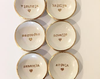 Bridesmaid Gift Bridesmaid set of 6, Dish Set, Custom Name, Bridesmaid Gift, Ring Holder, Personalized Dish, Jewlery Hold