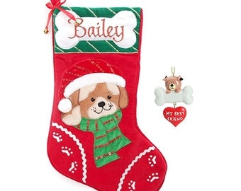 Personalised Dog Stocking and Tree Ornament Pack