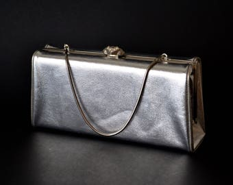 1950s Boxy Silver Clutch Evening Bag Purse