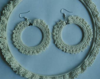 Crochet cream choker necklace and earring set