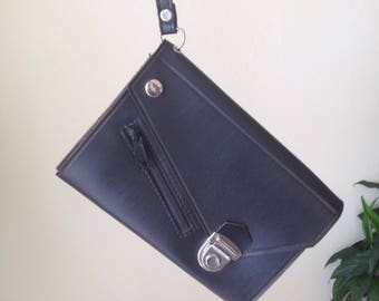 Vintage Bulgarian 70s Wrist Bag Men Wallet Black leatherette with zippers and metal eyelet, metal clasp