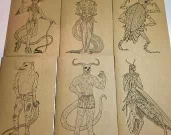 A5 Monster Boy Notebook - Plain Paper With Colouring Book Front Cover - Satyr - Mantis - Demon - Opossum - Eel - Beetle Boys
