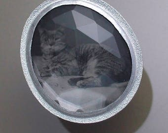 Sterling Silver Ring with Antique Tintype of A Pet Cat Under Faceted Rock Crystal Quartz